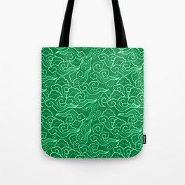 Vintage Japanese Clouds, Jade Green Tote Bag