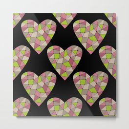 Retro.Mosaic heart . Metal Print