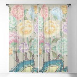 Minhwa: Peony Flowers and Rock Type A  (Korean traditional/folk art) Sheer Curtain