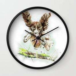 Springing Spaniel Wall Clock