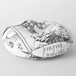 The Fool: Black and White Line Art Floor Pillow