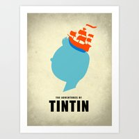 tintin Art Prints featuring THE ADVENTURES OF TINTIN by Calvin Wu