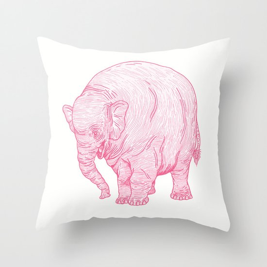 Pink Elephant Throw Pillow by Andrew Henry Society6