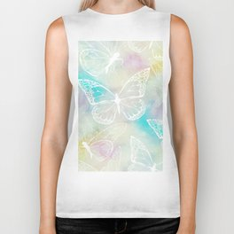 colorful pastel butterfly pattern, woman fashion Biker Tank