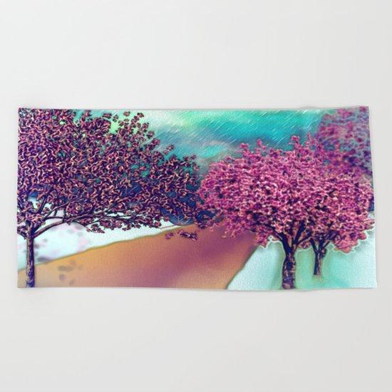 Cherry Blossom Trees Beach Towel