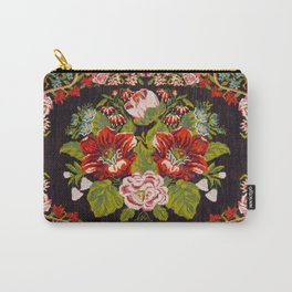 Bessarabian Antique Red Pink Roses Floral Kilim Print Carry-All Pouch