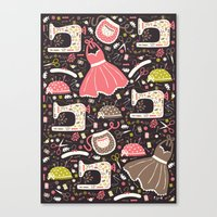 sewing Canvas Prints featuring Vintage Sewing by Poppy & Red