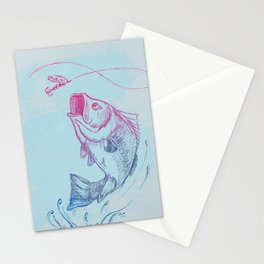 Largemouth Bass Jumping Out Of Water In Blue Circle  // Spinner Lure // Splashing Water // Fish On! Stationery Cards