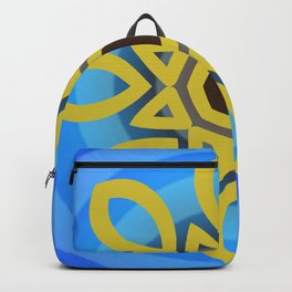 Bright Blue Almond Mandala Spinning Round Backpack