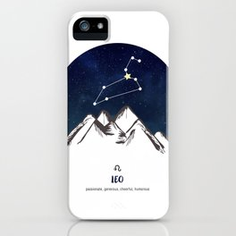 Astrology Leo Zodiac Horoscope Constellation Star Sign Watercolor Poster Wall Art iPhone Case