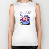 kirby Biker Tanks featuring Kirby Sleep by likelikes