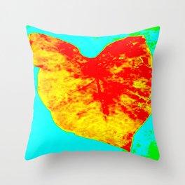 elephant ear, yellow, orange, aqua, green Throw Pillow
