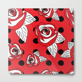 Roses and Dots on Red Metal Print
