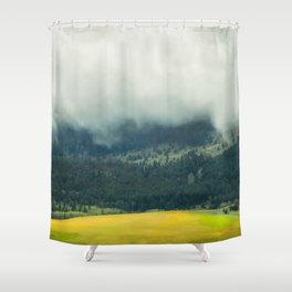 Foggy Morning Meadow Shower Curtain