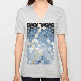 Shades Of Blue Cubes Pattern Unisex V-Neck