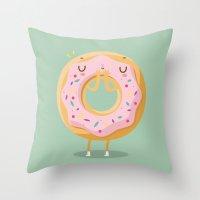 donut Throw Pillows featuring Donut by Maria Jose Da Luz