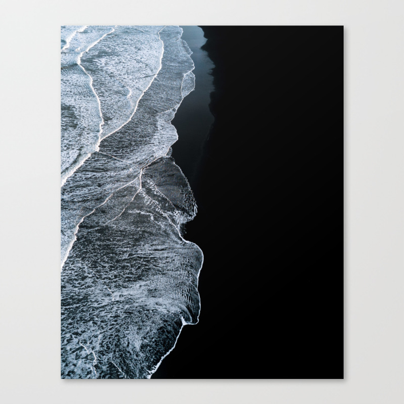 Waves On A Black Sand Beach In Iceland - Minimalis… Canvas Print by Regnumsaturni