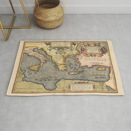 Vintage Map Print - 1608 Map of the Journey of Aeneas Rug