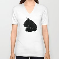 maine V-neck T-shirts featuring Maine Coon by Jonathan Hall