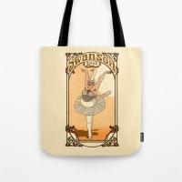 swanson Tote Bags featuring Swanson Lake by Rodrigo Ferreira