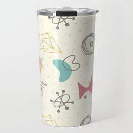 Funny mid century science abstract shapes hand drawn illustration pattern Travel Mug