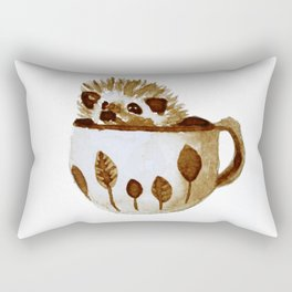 Hedgehog in a Cup Painted with Coffee Rectangular Pillow