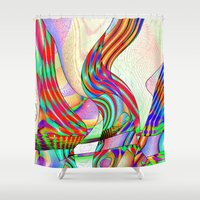 techno Shower Curtains featuring techno-doodle by David  Gough