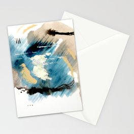 You are an Ocean - abstract India Ink & Acrylic in blue, gray, brown, black and white Stationery Cards