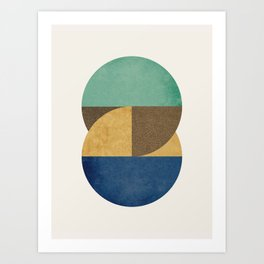 Circle color pieces abstract geometric Art Print