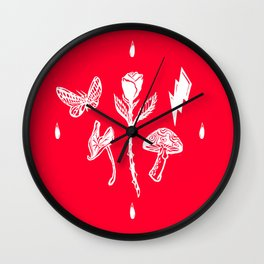 Icon Flora White on Red Wall Clock
