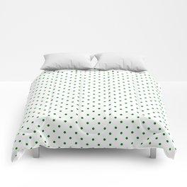 Small Green Polkadot Heart on Snow White Comforters