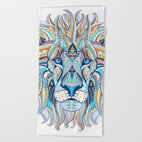 Blue Ethnic Lion Beach Towel