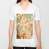 flowers V-neck T-shirts featuring Pink by Olivia Joy StClaire