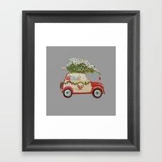 Vintage tree on red car gray background Framed Art Print