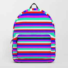 Colored Stripes - Fire Red Royal Blue Pink Mint White Backpack