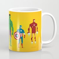 super heroes Mugs featuring Super Heroes - Pixel Nostalgia by Boo! Studio