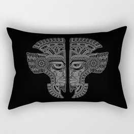 Gray and Black Aztec Twins Mask Illusion Rectangular Pillow