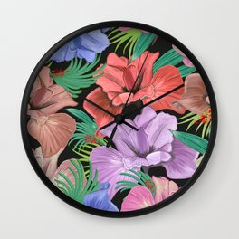 470-Hand drawn pastel iris flower and tropical leaves pattern black background Wall Clock