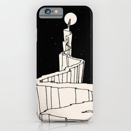 Path to the Moon | Black and White illustration iPhone Case