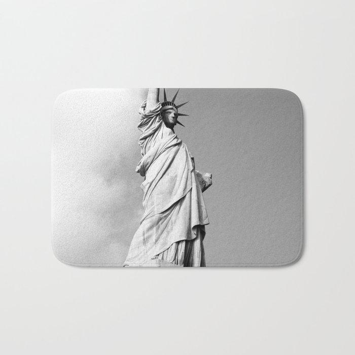 statue of liberty 4 black white Bath Mat