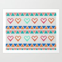 knit Art Prints featuring Heart Knit  by minniemorrisart
