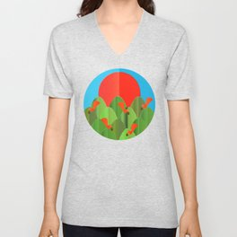 red squirrels at the sunset Unisex V-Neck