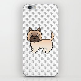 Cute Wheaten Cairn Terrier Dog Cartoon Illustration iPhone Skin