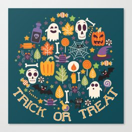 Retro Halloween Trick-Or-Treat Collage Canvas Print