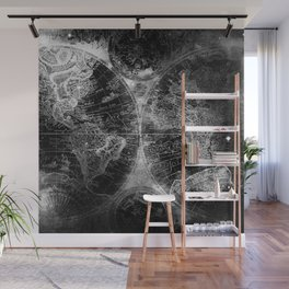 Antique Map Space Stars Black and White Wall Mural