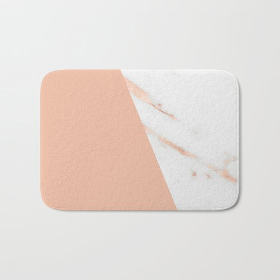 Marble Geometric Rose Gold Pink Quartz Bath Mat