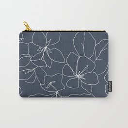 Flowers in Bloom, Drawing in Blue Carry-All Pouch
