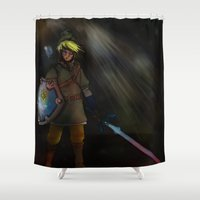 hyrule Shower Curtains featuring Hero of Hyrule by Brandon Draws