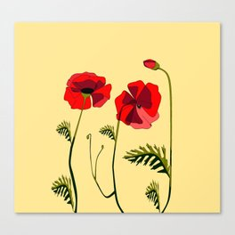 Adorable Red Poppies Unfold Canvas Print