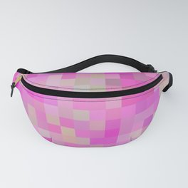 geometric square pixel pattern abstract background in pink blue green Fanny Pack